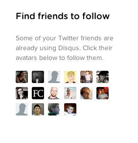 Screenshot of Find friends to follow section in dashboard