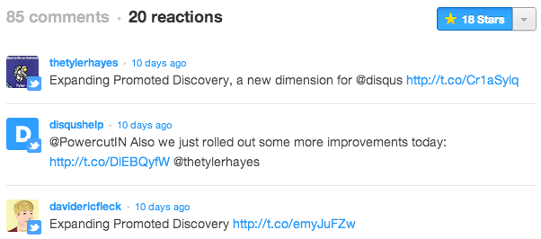 Screenshot of reactions in Disqus 2012