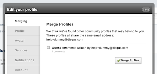 Edit Profile > Merging tab showing guest comments